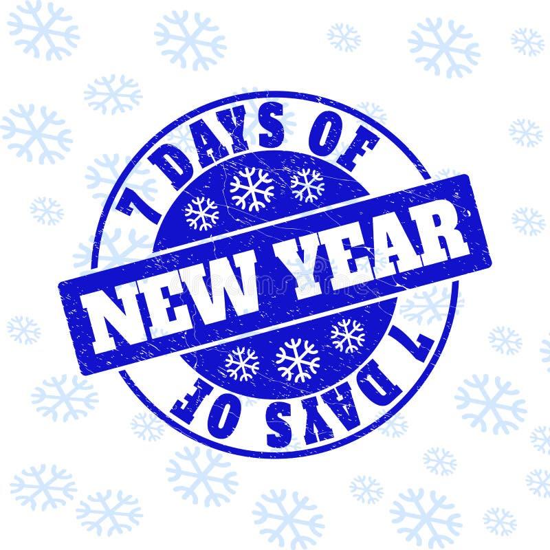 7 giorni della guarnizione rotonda del bollo di lerciume del nuovo anno per il nuovo anno illustrazione vettoriale