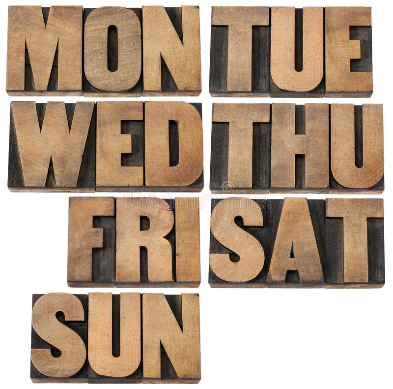 Giorni della settimana nel tipo di legno fotografie stock libere da diritti
