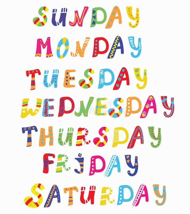 Giorni delle insegne divertenti di settimana royalty illustrazione gratis