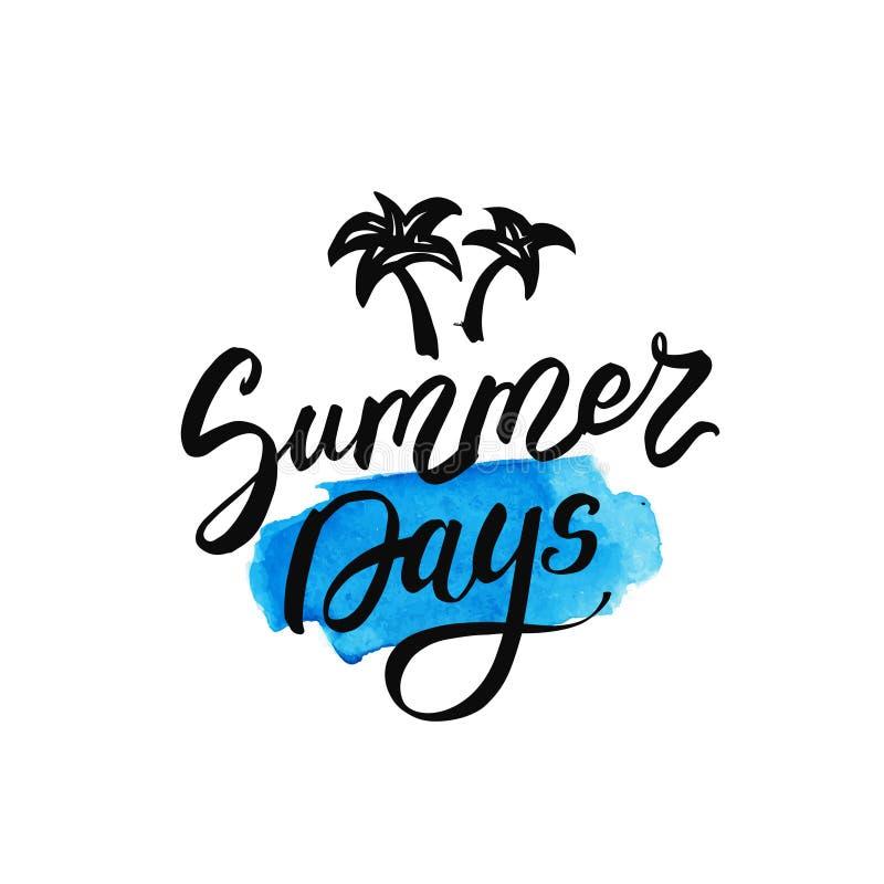 Giorni di estate che segnano sulla macchia del blu dell'acquerello Illustrazione disegnata a mano di vettore per le cartoline d'a illustrazione di stock