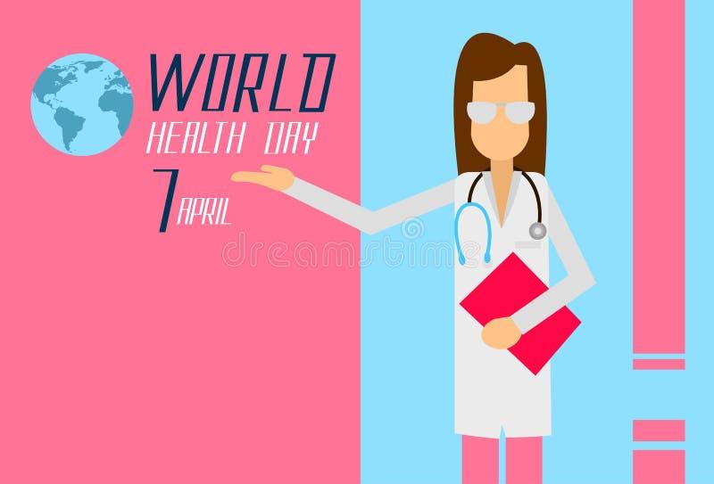 Giorno April Holiday Banner di medico Woman World Healthy illustrazione vettoriale