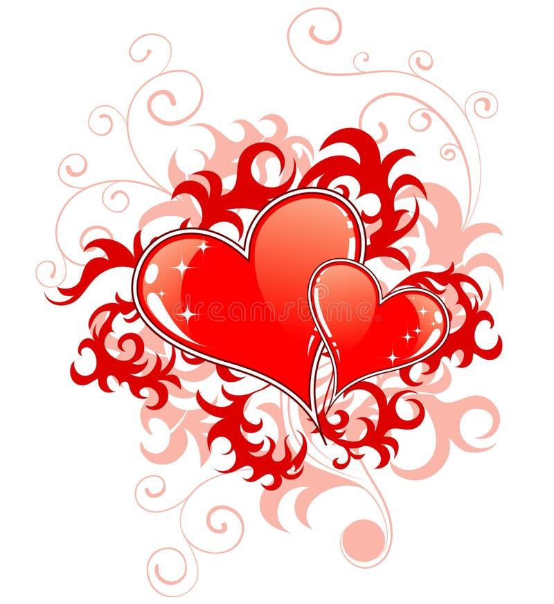 Giorno astratto dei biglietti di S. Valentino con la h illustrazione vettoriale