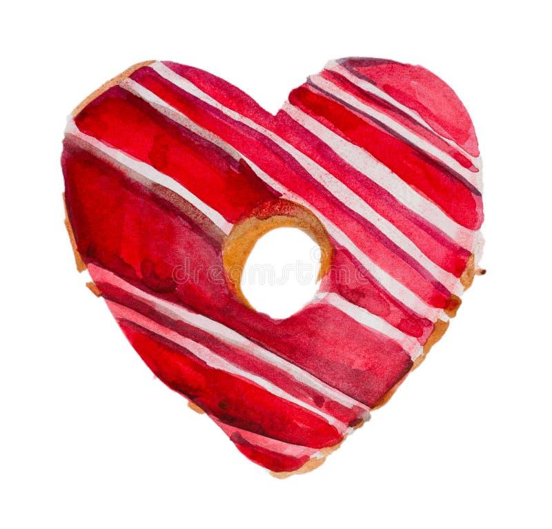Giorno `` biglietto di S. Valentino dolce `` del ` s del biglietto di S. Valentino della st dell'acquerello fotografia stock