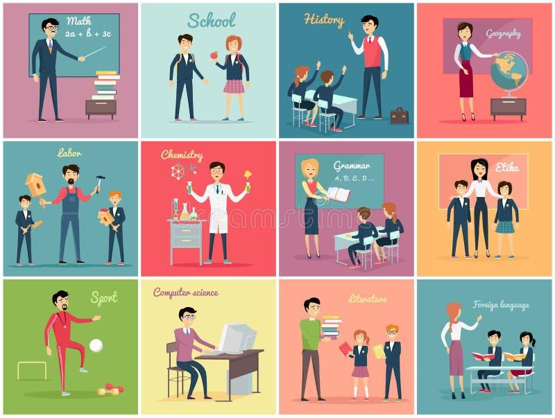 Giorno degli insegnanti Fissi la professione di insegnamento illustrazione di stock