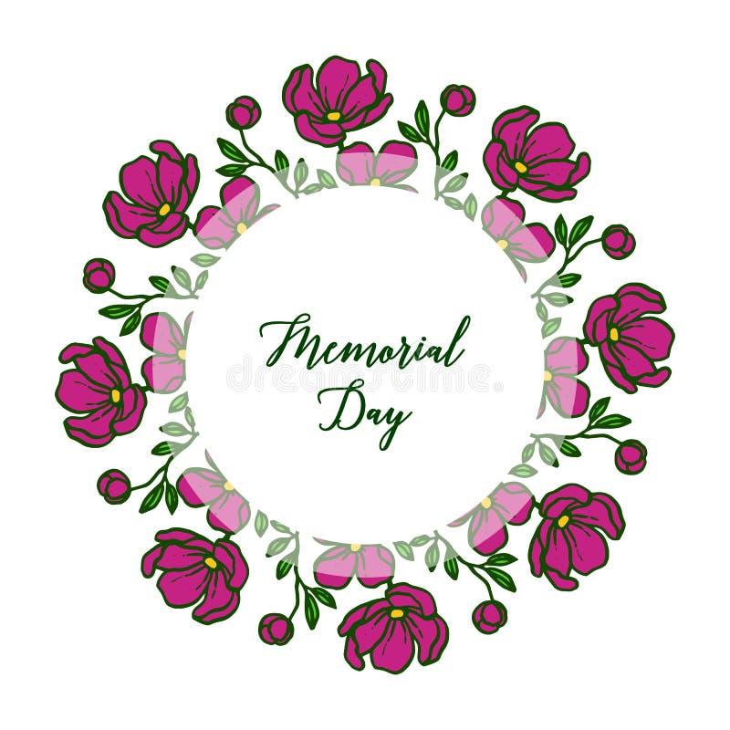 Giorno dei Caduti della cartolina d'auguri dell'illustrazione di vettore con la struttura rotonda del fiore della foglia royalty illustrazione gratis