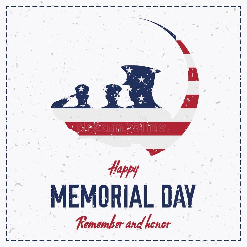 Giorno dei Caduti felice Retro cartolina d'auguri d'annata con la bandiera ed il soldato con struttura antiquata Evento americano illustrazione vettoriale