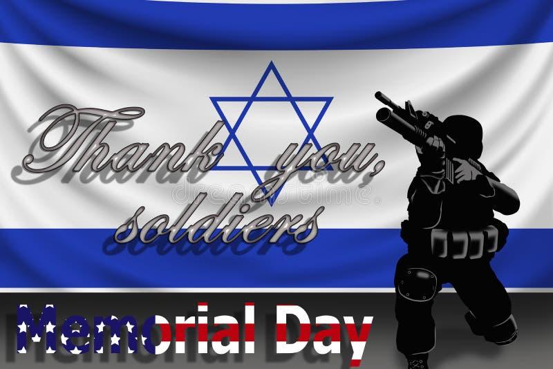 Giorno dei Caduti, il ` del testo vi ringrazia ` dei soldati contro lo sfondo della bandiera di Israele royalty illustrazione gratis