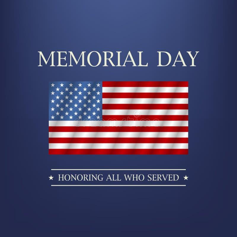 Giorno dei Caduti Onorando tutti che serviscano il testo Vettore illustrazione di stock