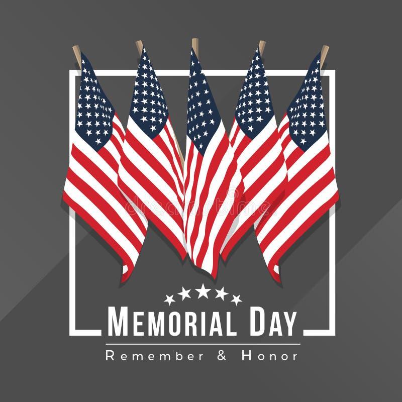 Giorno dei Caduti per l'insegna degli S.U.A. con il gruppo di bandiere degli S.U.A. nel telaio bianco su progettazione grigia di  illustrazione vettoriale