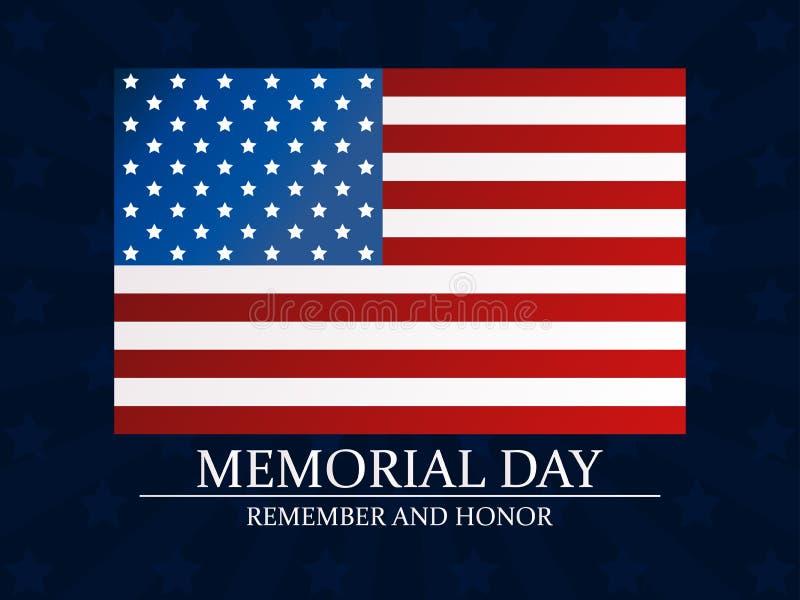 Giorno dei Caduti Ricordi e onori Bandierina degli Stati Uniti Vettore illustrazione vettoriale