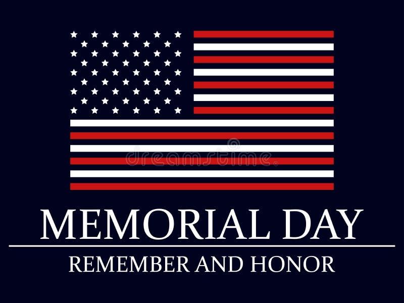 Giorno dei Caduti Ricordi e onori Bandierina degli Stati Uniti Vettore royalty illustrazione gratis