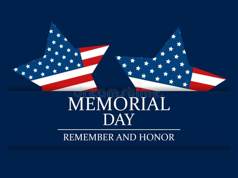 Giorno dei Caduti Ricordi e onori Stella con la bandiera degli Stati Uniti Illustrazione festiva per la cartolina d'auguri ed il  royalty illustrazione gratis