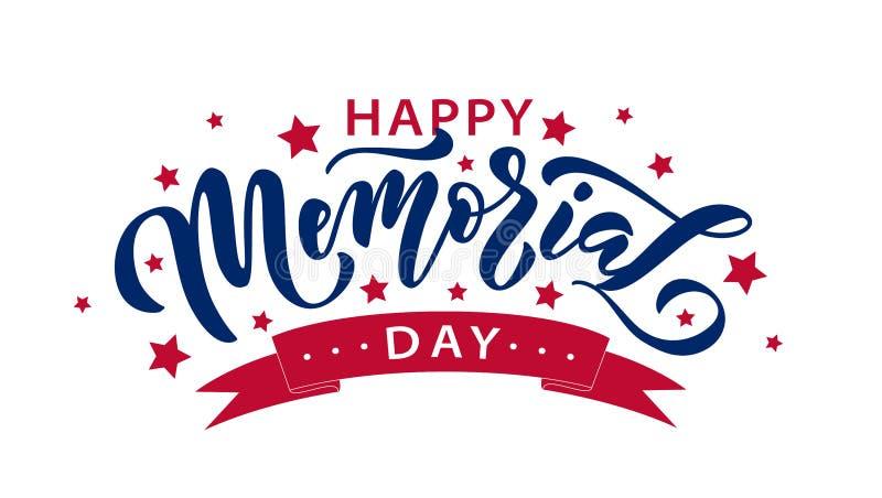 Giorno dei Caduti Ricordi e onori Testo disegnato a mano dell'illustrazione di vettore che segna con le stelle per Memorial Day i illustrazione di stock