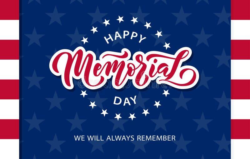 Giorno dei Caduti Ricordi e onori Testo disegnato a mano dell'illustrazione di vettore che segna con le stelle per Memorial Day i illustrazione vettoriale