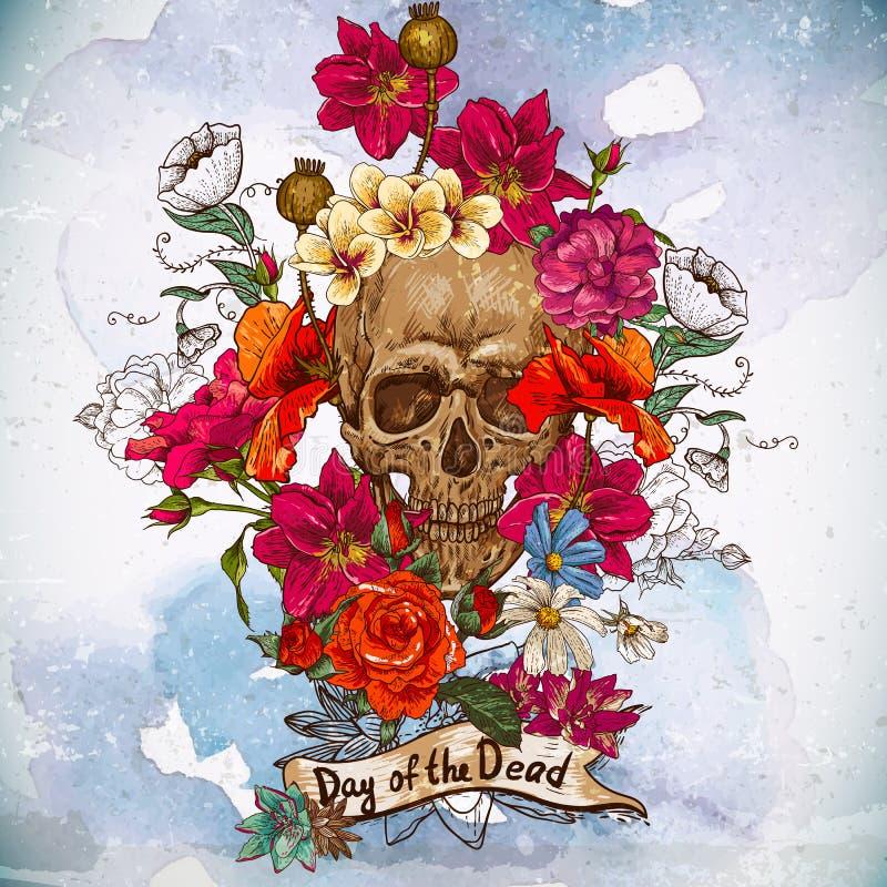 Giorno dei fiori e del cranio dei morti royalty illustrazione gratis