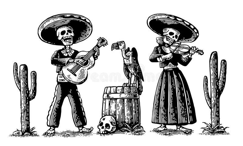 Giorno dei morti, Dia de los Muertos Lo scheletro nei costumi nazionali messicani balla, canta e gioca la chitarra illustrazione di stock