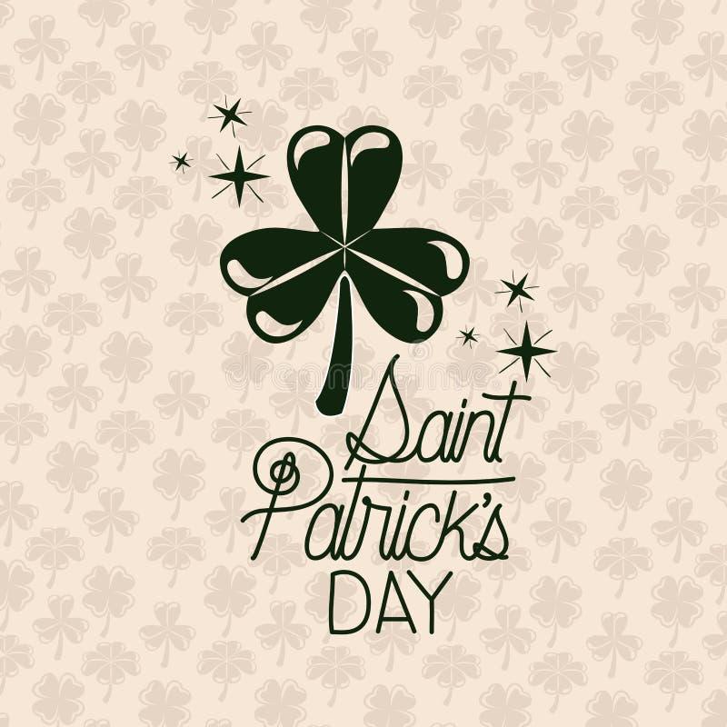 Giorno dei patricks del san del manifesto con un trifoglio di tre foglie nella siluetta di colore verde con il modello del fondo  illustrazione vettoriale