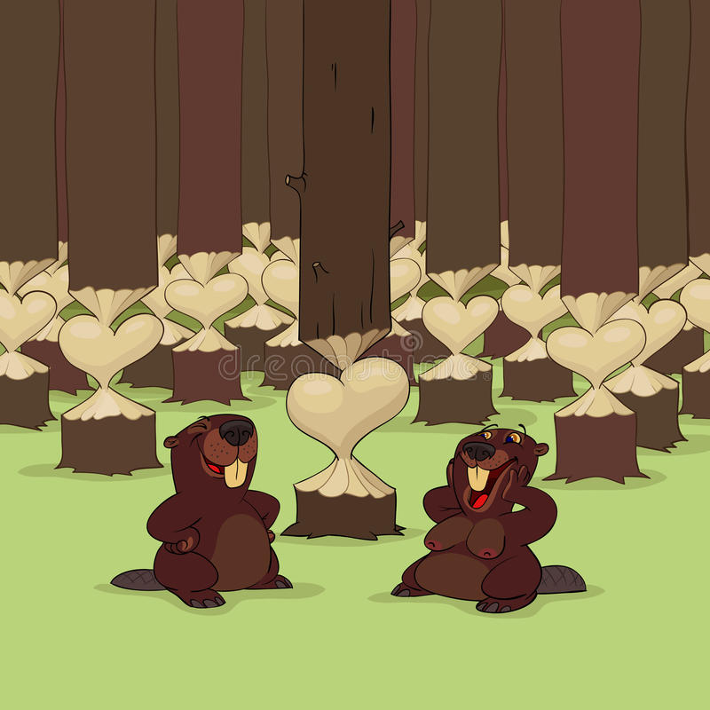 Giorno del biglietto di S. Valentino dei castori illustrazione di stock