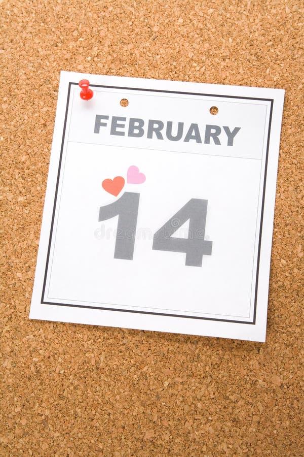 Giorno del biglietto di S. Valentino del calendario immagine stock