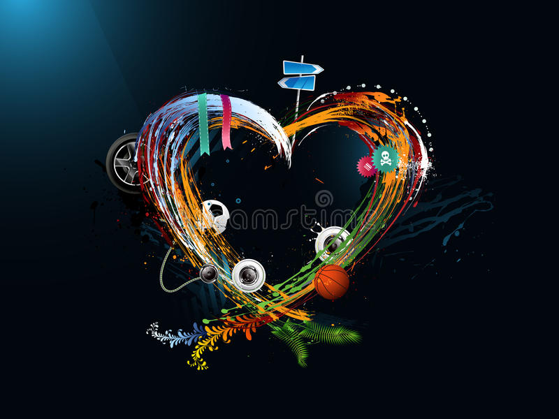 Giorno del biglietto di S. Valentino del cuore, graffito illustrazione di stock