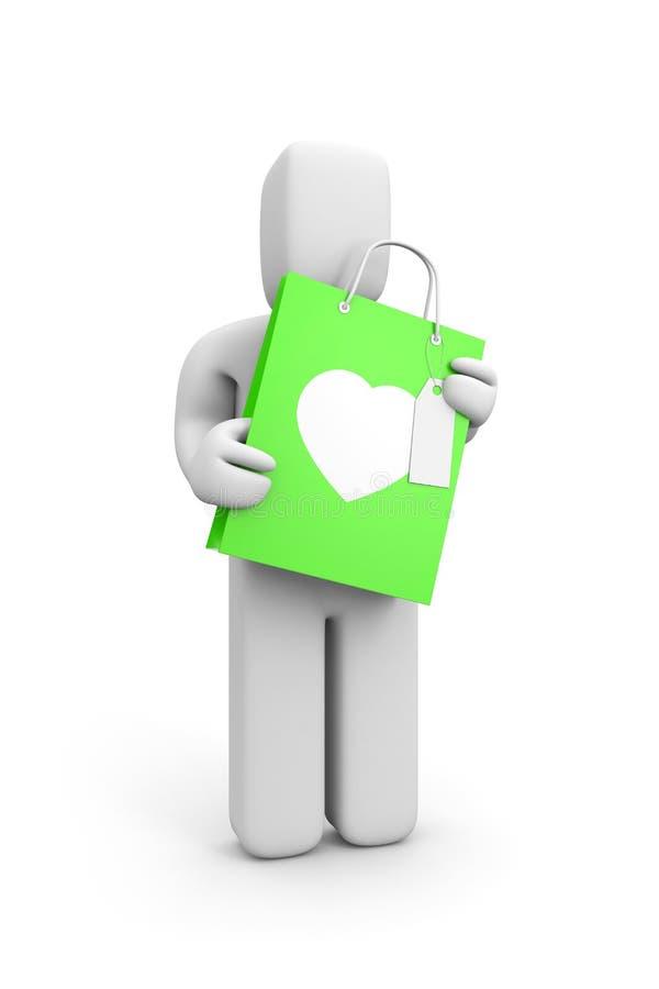 Giorno del biglietto di S. Valentino del regalo della stretta della persona illustrazione di stock