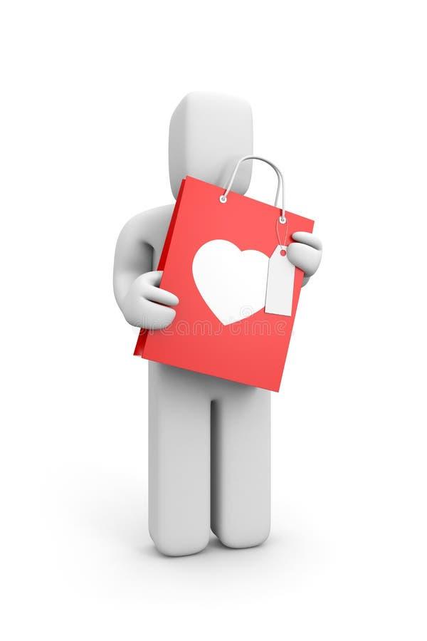 Giorno del biglietto di S. Valentino del regalo della stretta della persona illustrazione vettoriale