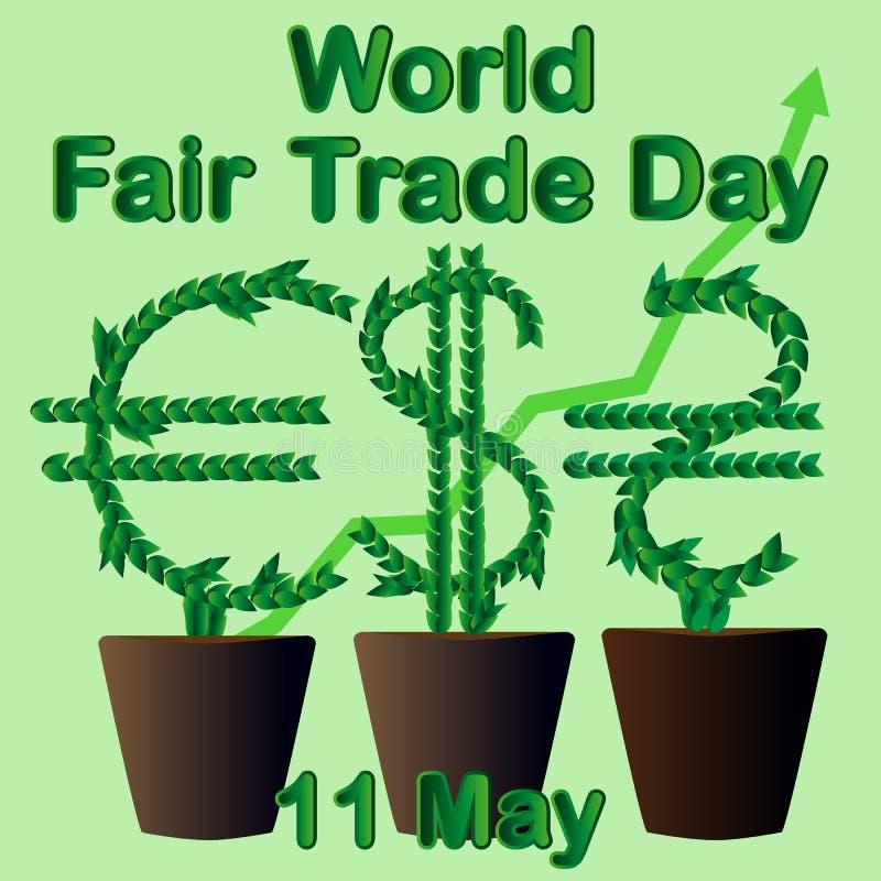 GIORNO del commercio equo e solidale del mondo L'albero dei soldi si sviluppa in un vaso da fiori 11 maggio illustrazione vettoriale