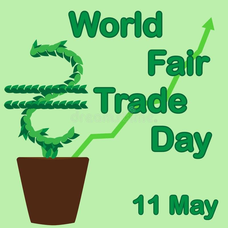 GIORNO del commercio equo e solidale del mondo L'albero dei soldi si sviluppa in un vaso da fiori 11 maggio royalty illustrazione gratis