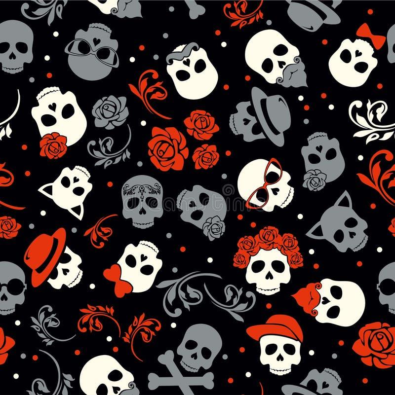 Giorno del cranio alla moda con l'ornamento e del floreale morti e variopinti illustrazione di stock