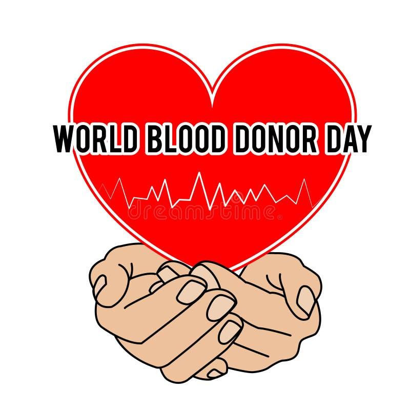 Giorno del donatore di sangue del mondo Illustrazione di vettore per la festa 14 giugno illustrazione di stock