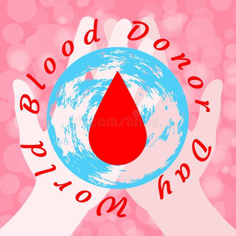 Giorno del donatore di sangue del mondo E illustrazione di stock