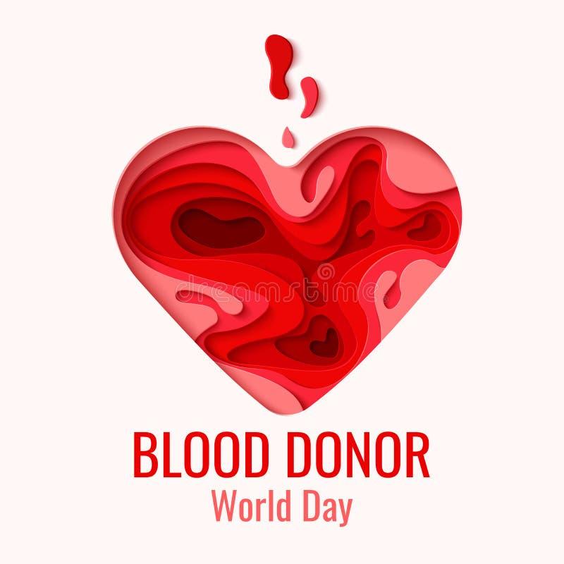 Giorno del donatore di sangue del mondo - la carta rossa ha tagliato il cuore illustrazione di stock