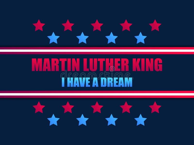 Giorno del Martin Luther King Ho un sogno Cartolina d'auguri con le stelle rosse ed il colore blu Giorno di Mlk Vettore illustrazione vettoriale