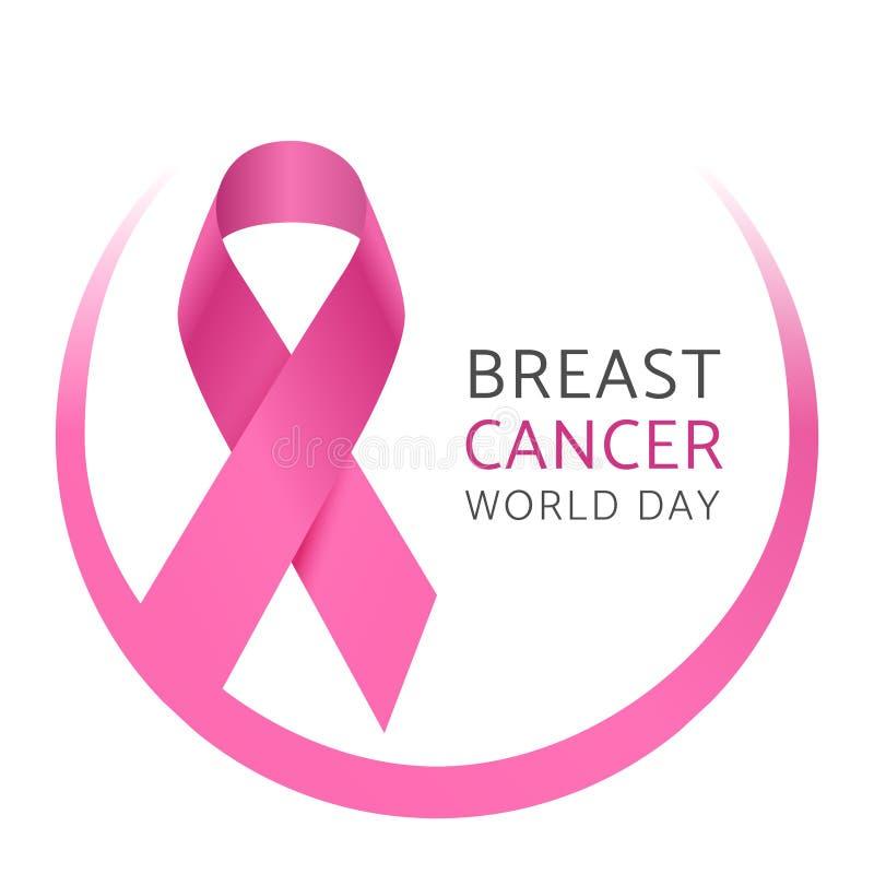 Giorno del mondo del cancro al seno Nastro di seta rosa di consapevolezza del cancro al seno della donna Fondo medico di vettore  illustrazione di stock