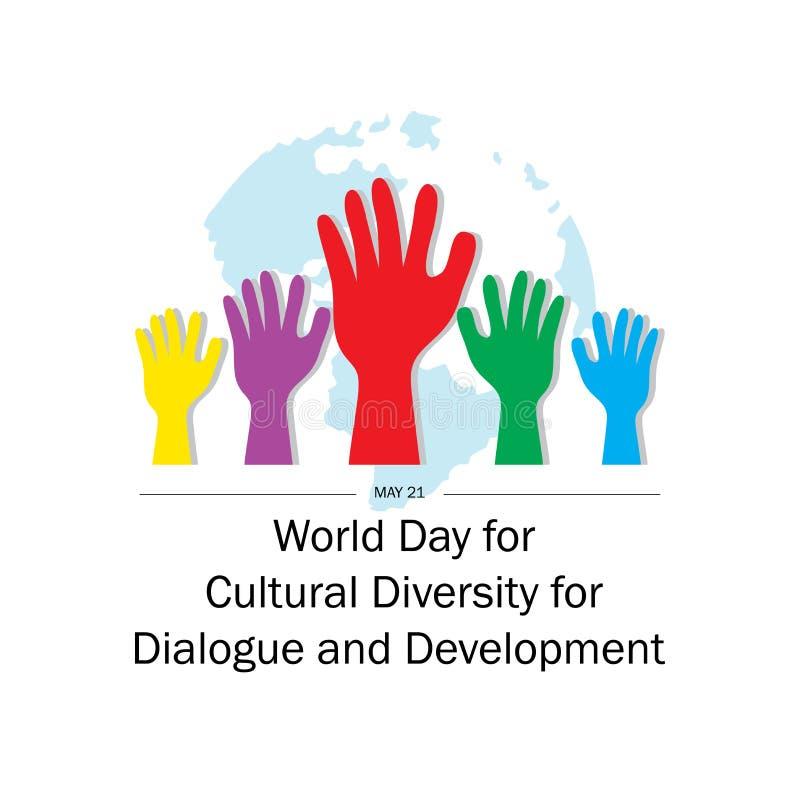 Giorno del mondo per diversità culturale per il dialogo e lo sviluppo illustrazione di stock