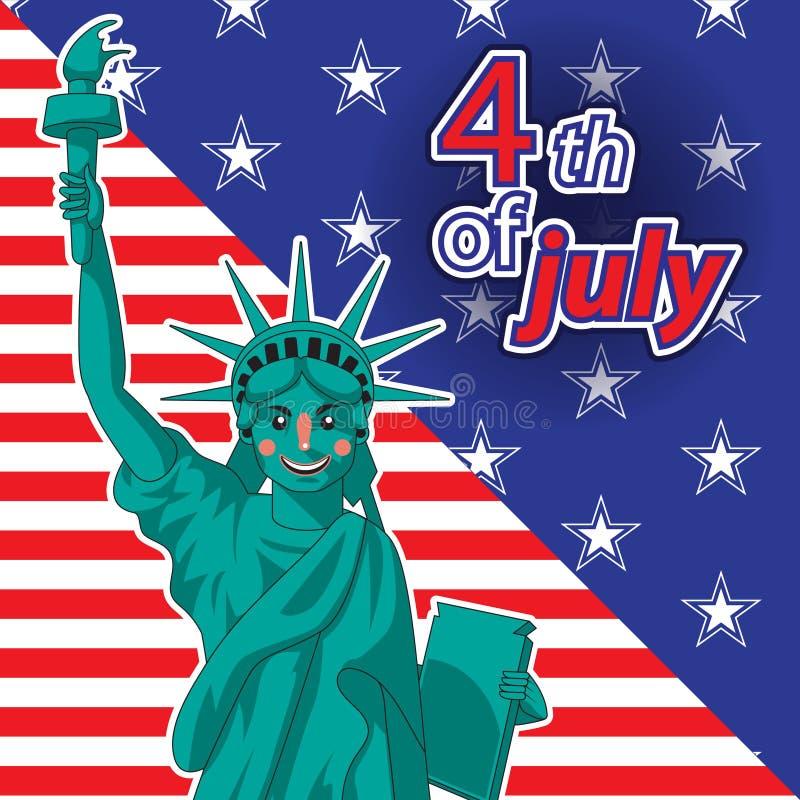 Giorno del patriota Festa del Lavoro Statua di libert? & del tramonto di New York City Illustrazione patriottica di vettore per l illustrazione di stock