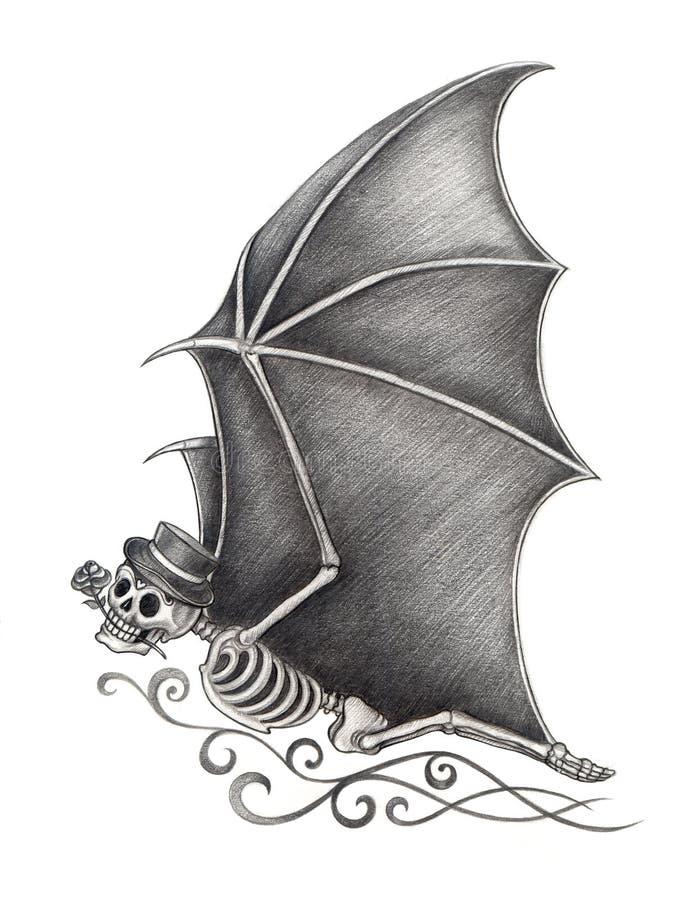 Giorno del pipistrello del cranio di arte dei morti royalty illustrazione gratis