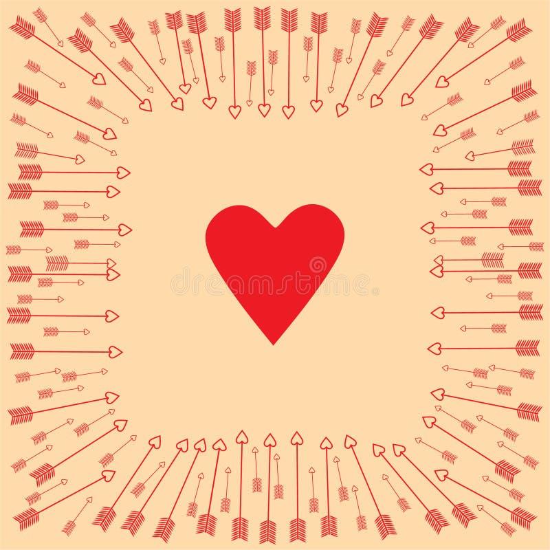 Giorno del `s del biglietto di S Frecce intorno al cuore immagini stock