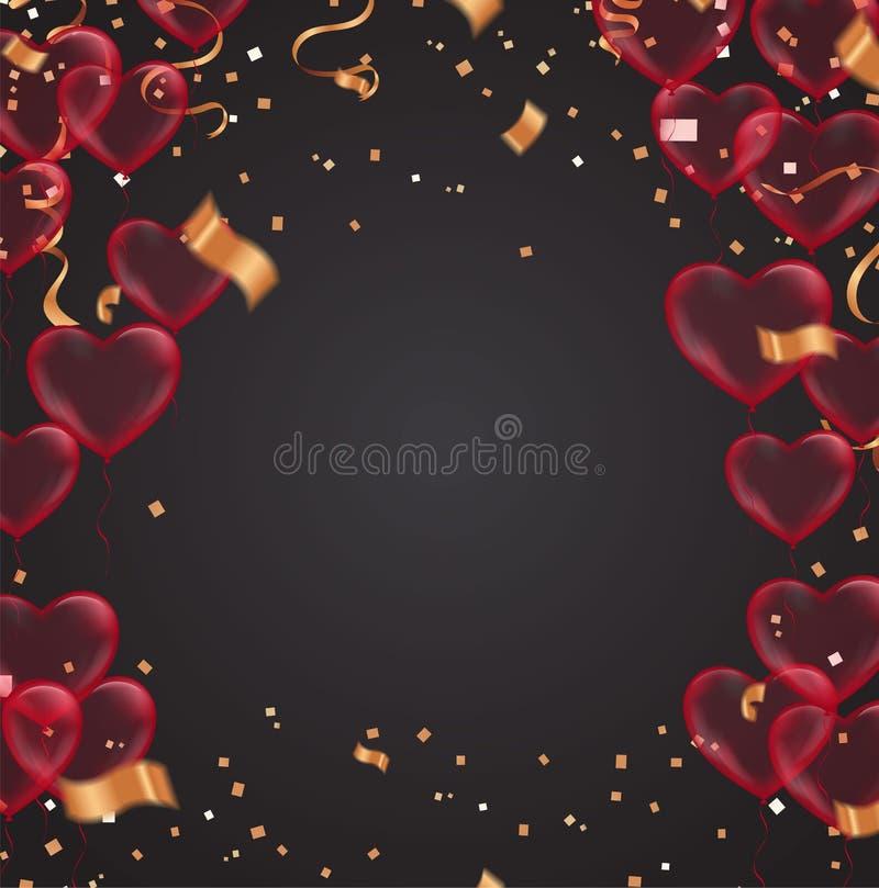 Giorno del ` s del biglietto di S. Valentino, modello dell'insegna palloni del cuore con fondo opuscolo di vettore di progettazio illustrazione di stock