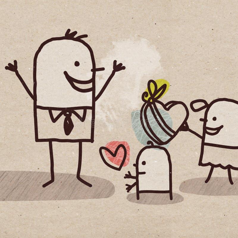 Giorno del ` s dei bambini e del padre del fumetto royalty illustrazione gratis