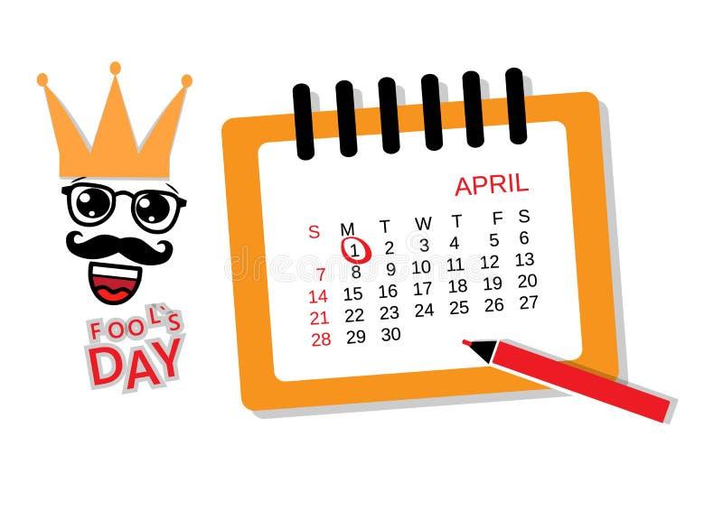 Giorno del ` s dello sciocco 1° aprile Calendario 2019 di aprile Illustrazione di vettore illustrazione di stock