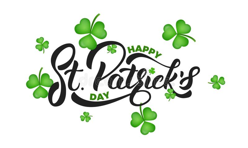 Giorno del ` s di San Patrizio L'acetosella del trifoglio lascia l'iscrizione del ` di St Patrick e del fondo s Priorità bassa di royalty illustrazione gratis