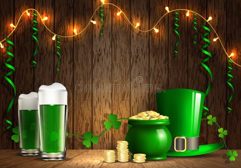 Giorno del ` s di St Patrick Cartolina d'auguri con un giorno del ` s di St Patrick illustrazione vettoriale