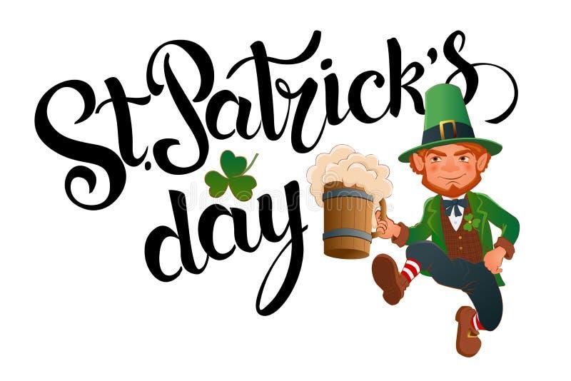 Giorno del ` s di St Patrick Leprechaun di salto allegro illustrazione di stock