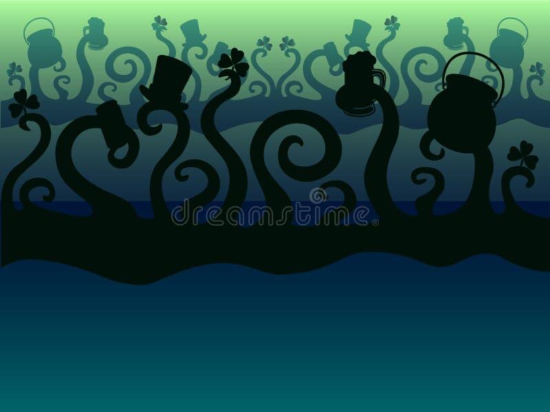 Giorno del ` s di StPatrick I mostri verdi stanno celebrando tentacles disco Fondo illustrazione di stock