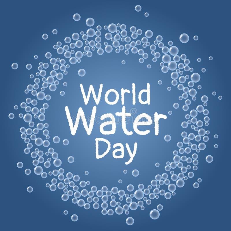 Giorno dell'acqua del mondo Le bolle blu subacquee avvolgono la cartolina royalty illustrazione gratis
