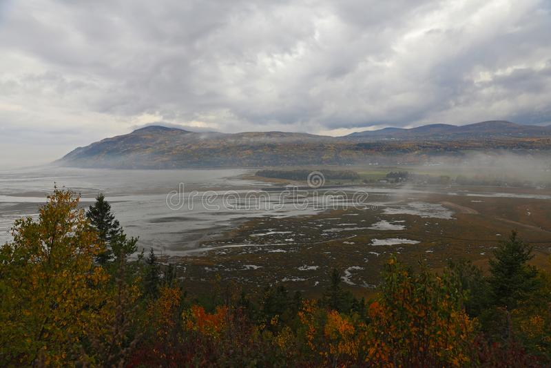 Giorno dell'autunno in Baie-San-Paul, Charlevoix, Quebec, Canada fotografia stock