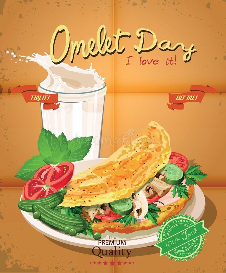 Giorno dell'omelette Manifesto con l'omelette ed il latte nello stile d'annata illustrazione vettoriale
