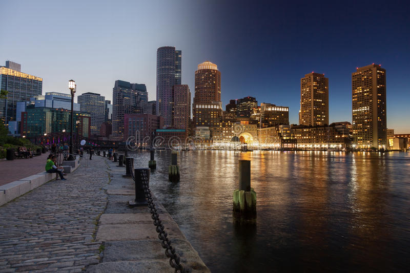 Giorno dell'orizzonte di Boston al montaggio di notte - Massachusetts - U.S.A. - unità fotografie stock libere da diritti