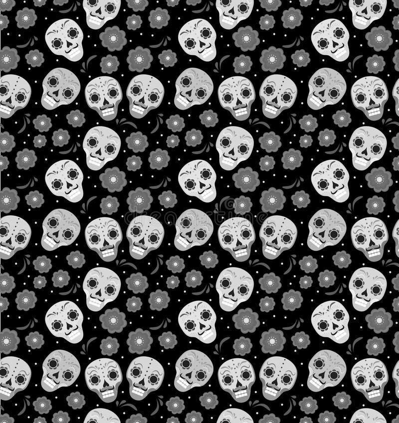 Giorno della festa morta nel modello senza cuciture del Messico con i crani dello zucchero Fondo senza fine di scheletro Dia de M royalty illustrazione gratis